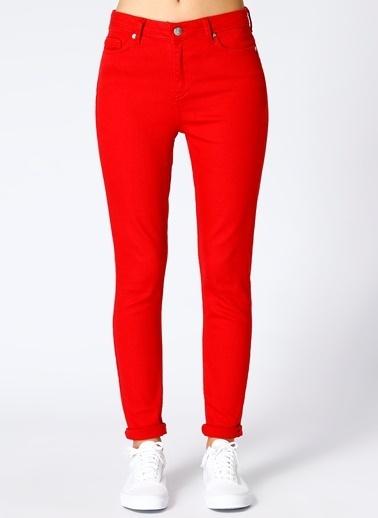 Limon Company Limon Kadın Dar Paça Kırmızı Pantolon Kırmızı